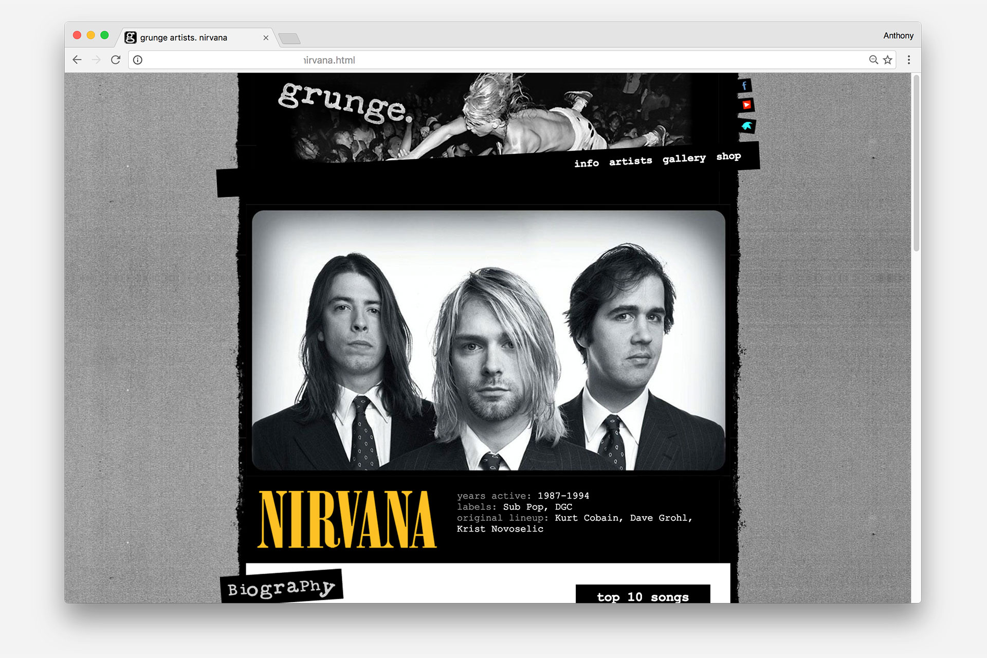 Artist page for Nirvana 1