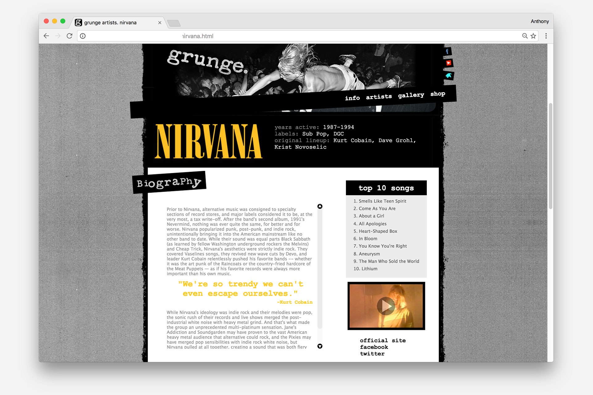 Artist page for Nirvana 2